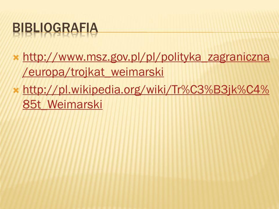 Bibliografia http://www.msz.gov.pl/pl/polityka_zagraniczna/europa/trojkat_weimarski.