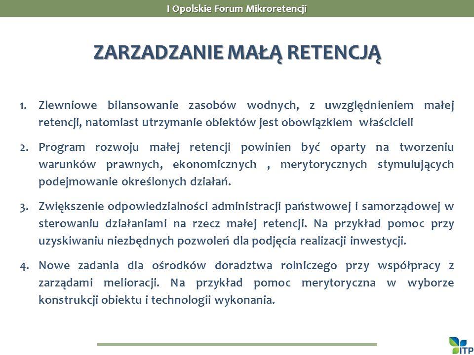 I Opolskie Forum Mikroretencji ZARZADZANIE MAŁĄ RETENCJĄ