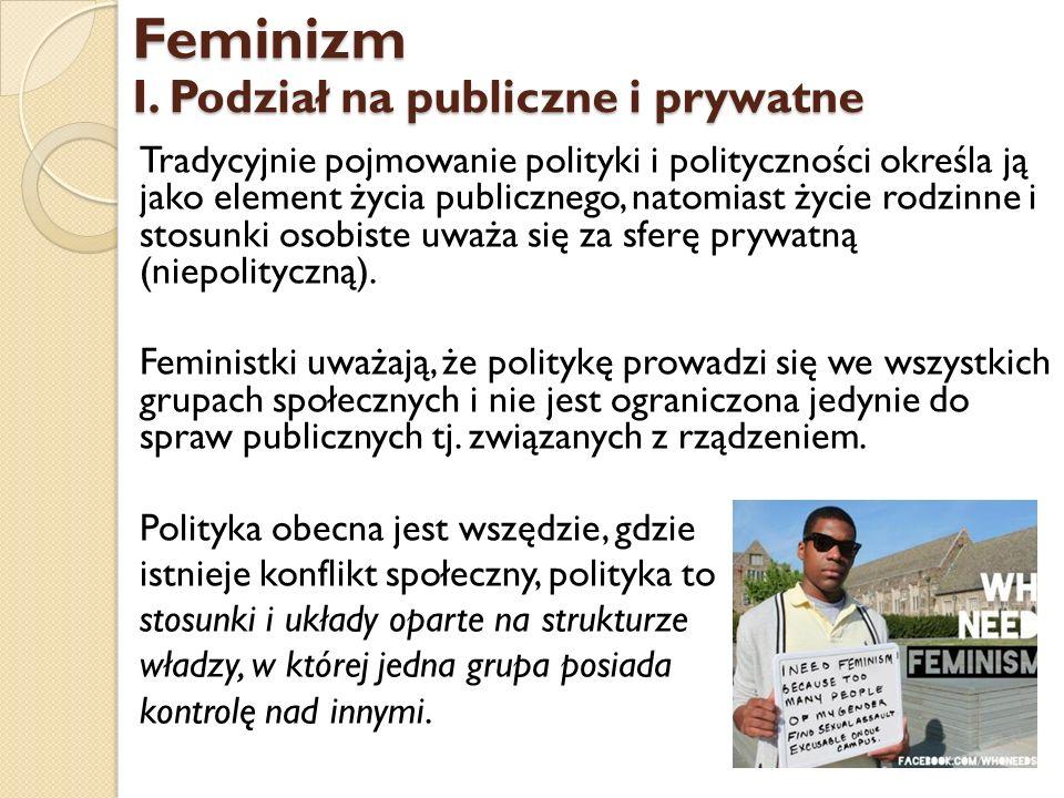 Feminizm I. Podział na publiczne i prywatne
