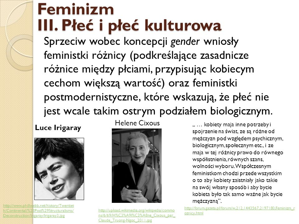 III. Płeć i płeć kulturowa