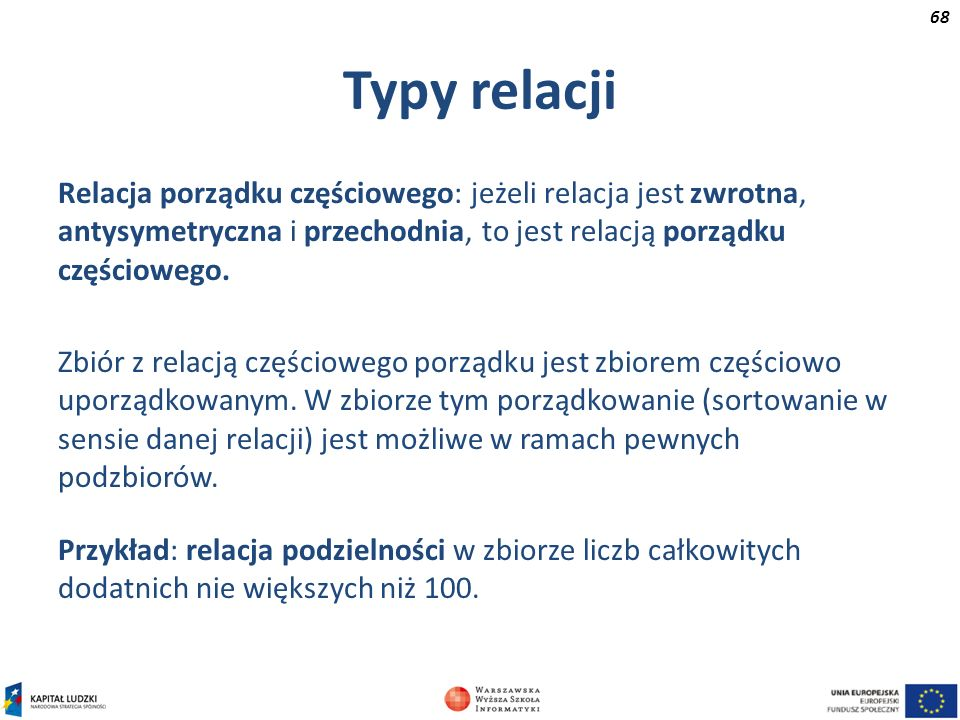 Typy relacjiRelacja porządku częściowego: jeżeli relacja jest zwrotna, antysymetryczna i przechodnia, to jest relacją porządku częściowego.