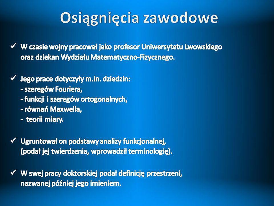 Osiągnięcia zawodowe W czasie wojny pracował jako profesor Uniwersytetu Lwowskiego oraz dziekan Wydziału Matematyczno-Fizycznego.