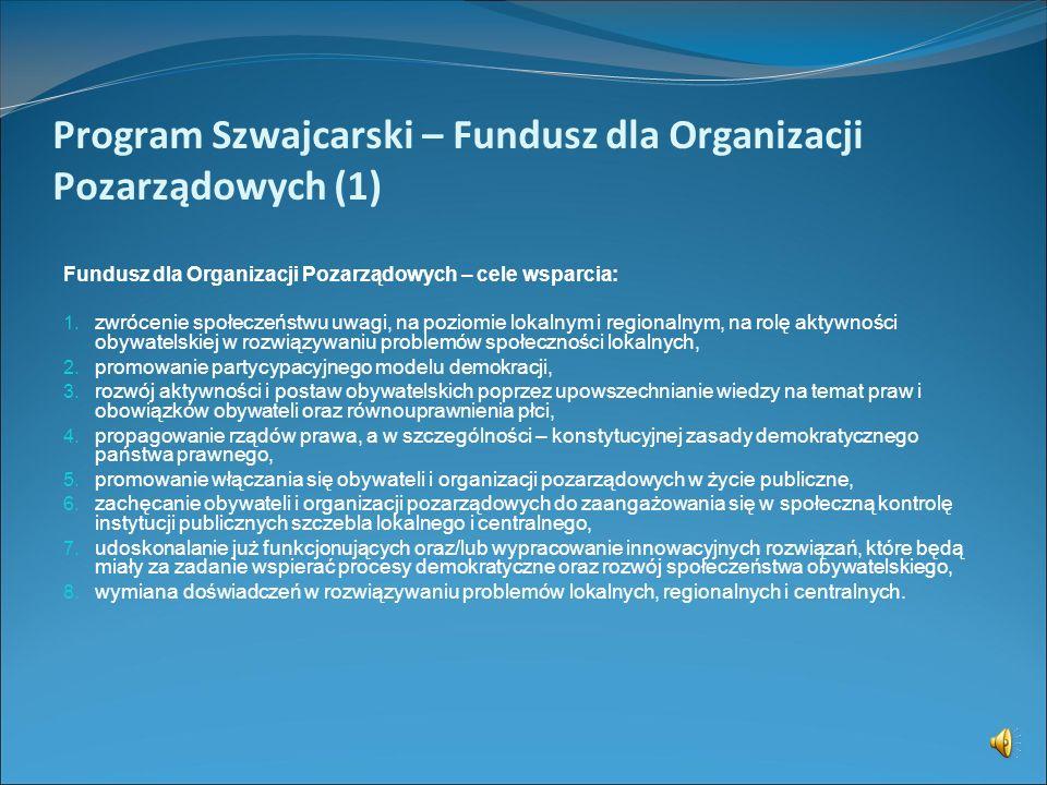 Program Szwajcarski – Fundusz dla Organizacji Pozarządowych (1)
