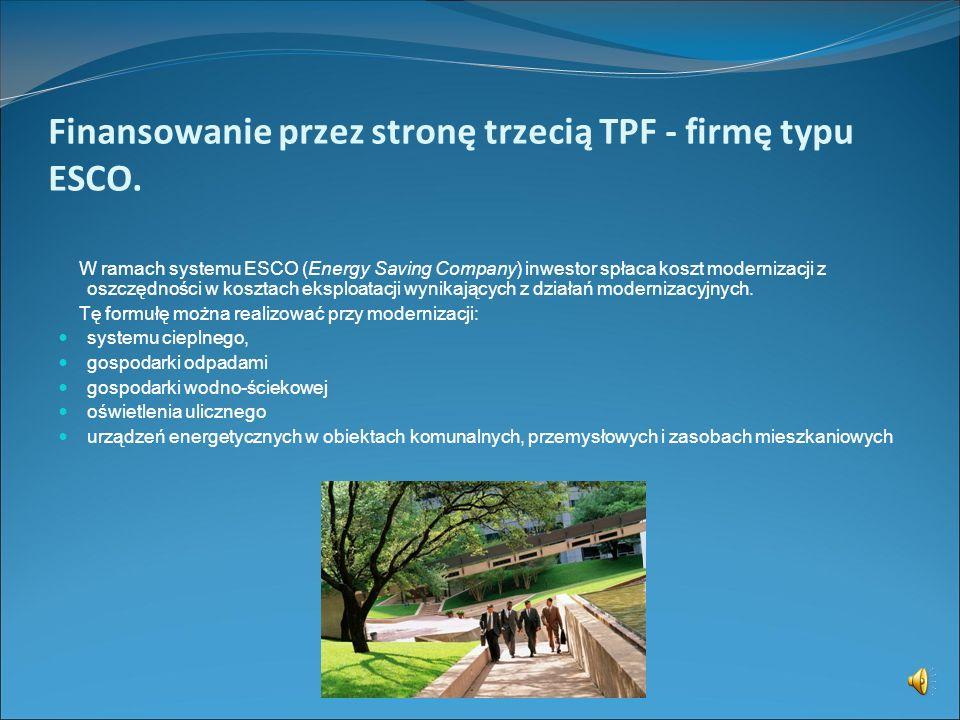 Finansowanie przez stronę trzecią TPF - firmę typu ESCO.