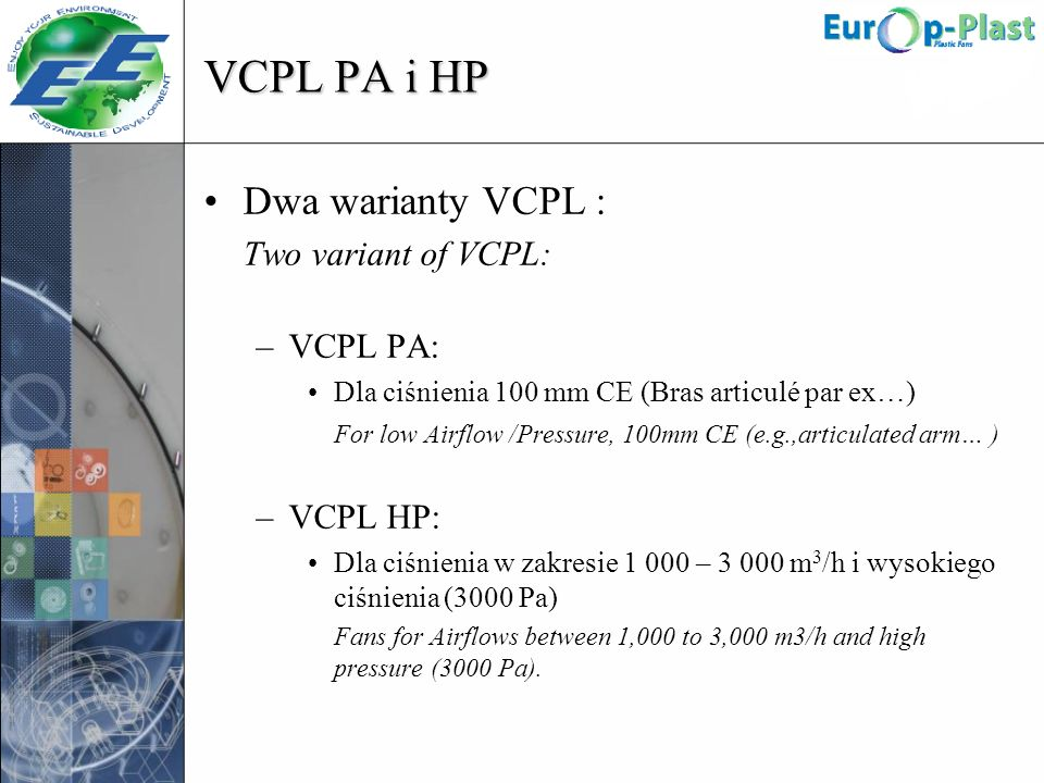 VCPL PA i HP Dwa warianty VCPL : Two variant of VCPL: VCPL PA: