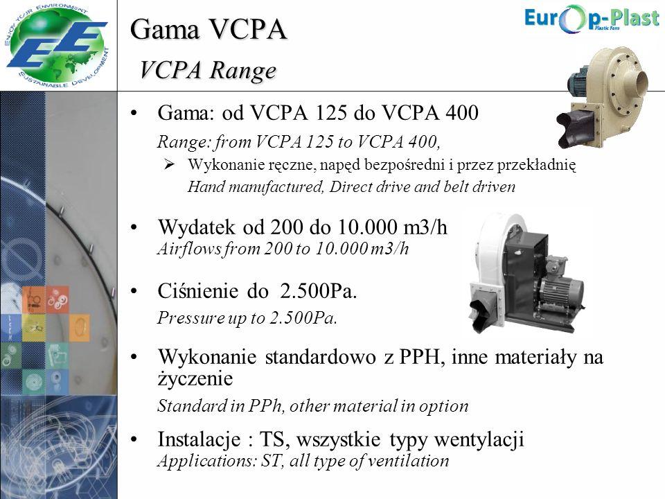 Gama VCPA VCPA Range Gama: od VCPA 125 do VCPA 400