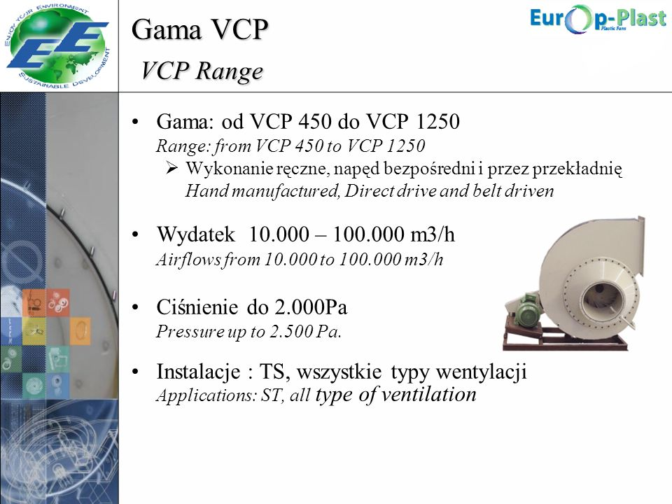 Gama VCP VCP Range Airflows from 10.000 to 100.000 m3/h