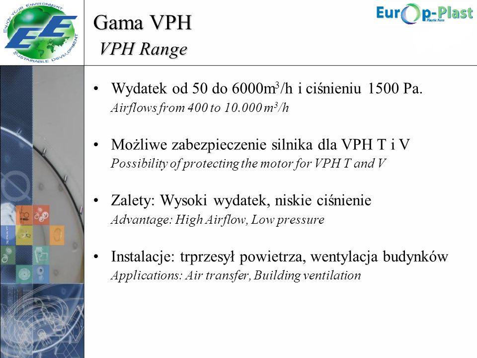 Gama VPH VPH Range Wydatek od 50 do 6000m3/h i ciśnieniu 1500 Pa.