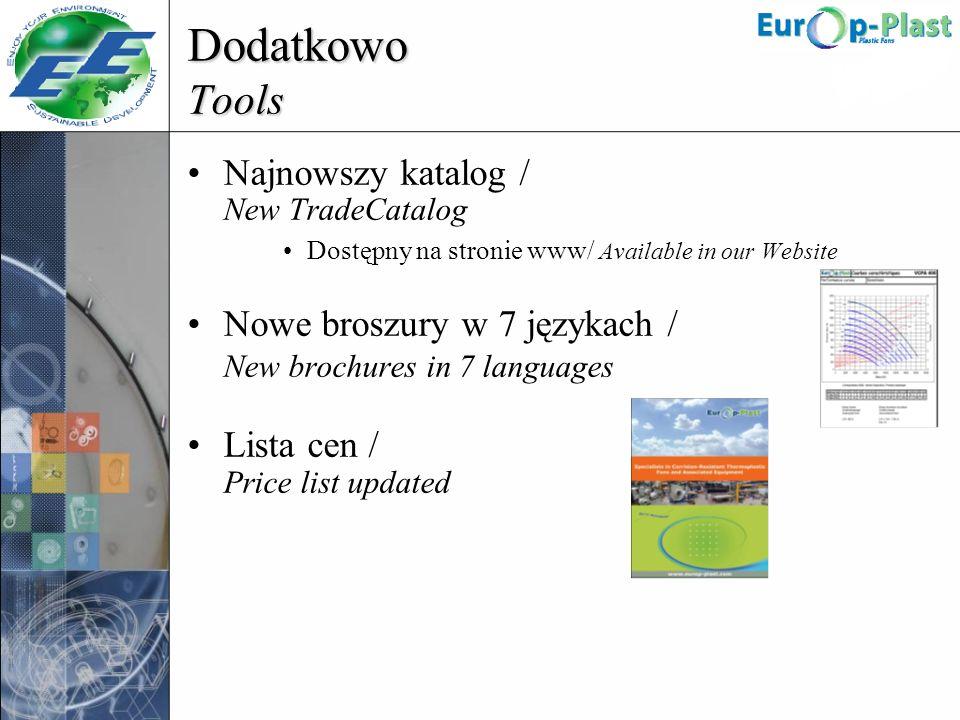 Dodatkowo Tools Najnowszy katalog / Nowe broszury w 7 językach /