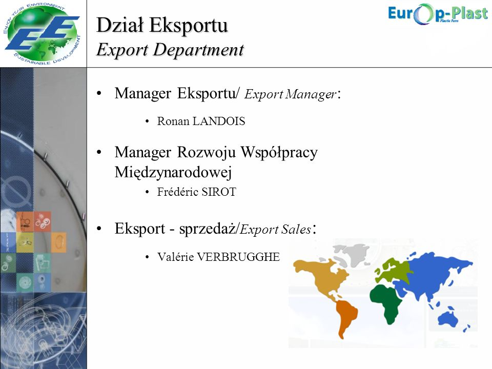Dział Eksportu Export Department