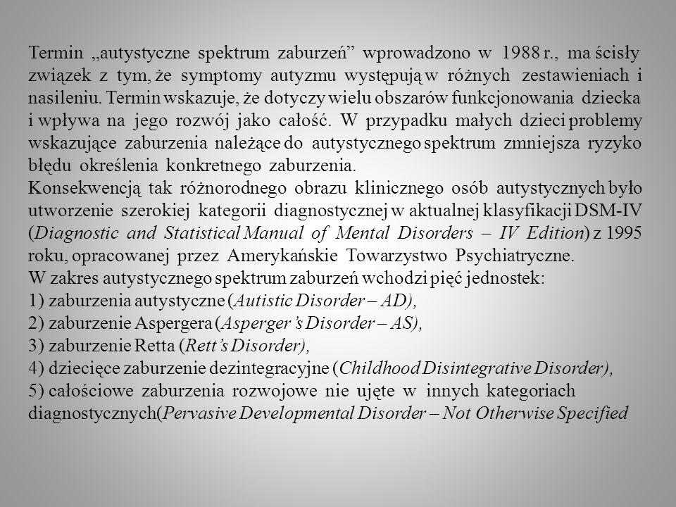 """Termin """"autystyczne spektrum zaburzeń wprowadzono w 1988 r"""