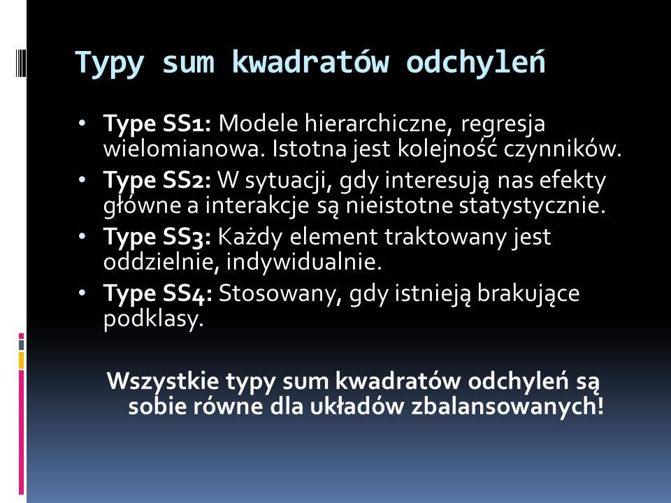Typy sum kwadratów odchyleń