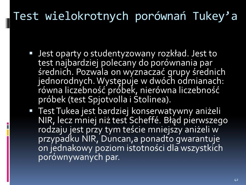 Test wielokrotnych porównań Tukey'a