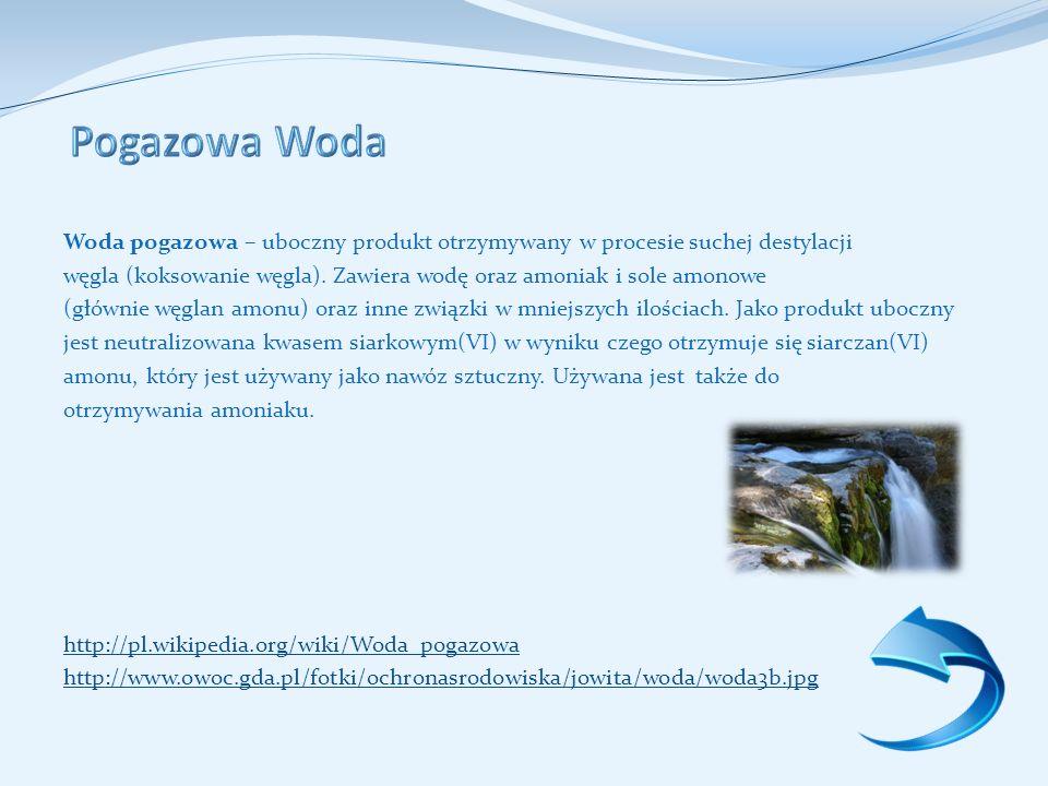 Pogazowa Woda Woda pogazowa – uboczny produkt otrzymywany w procesie suchej destylacji.