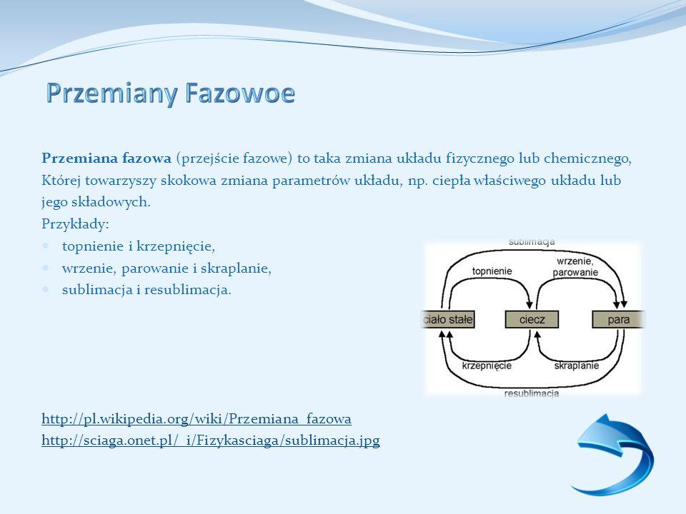 Przemiany Fazowoe Przemiana fazowa (przejście fazowe) to taka zmiana układu fizycznego lub chemicznego,