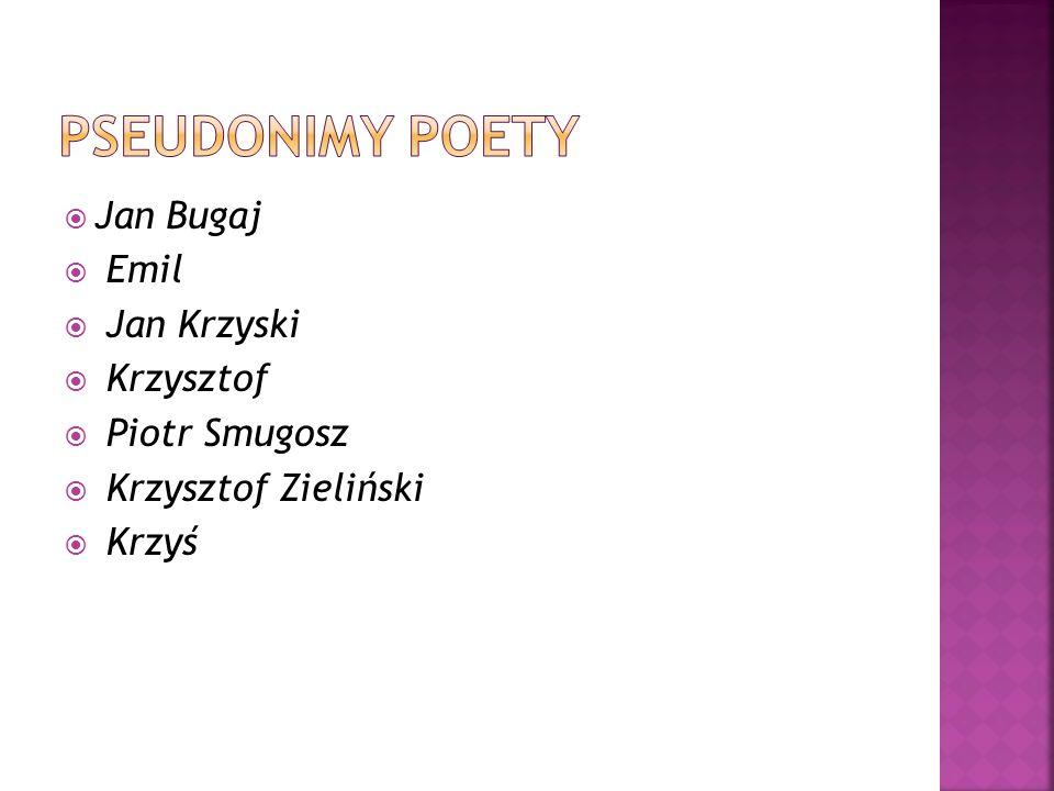 Pseudonimy poety Jan Bugaj Emil Jan Krzyski Krzysztof Piotr Smugosz