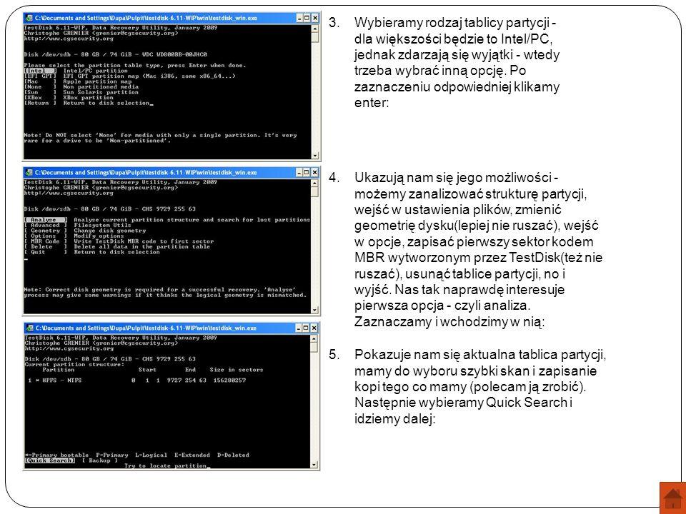 Wybieramy rodzaj tablicy partycji - dla większości będzie to Intel/PC, jednak zdarzają się wyjątki - wtedy trzeba wybrać inną opcję. Po zaznaczeniu odpowiedniej klikamy enter: