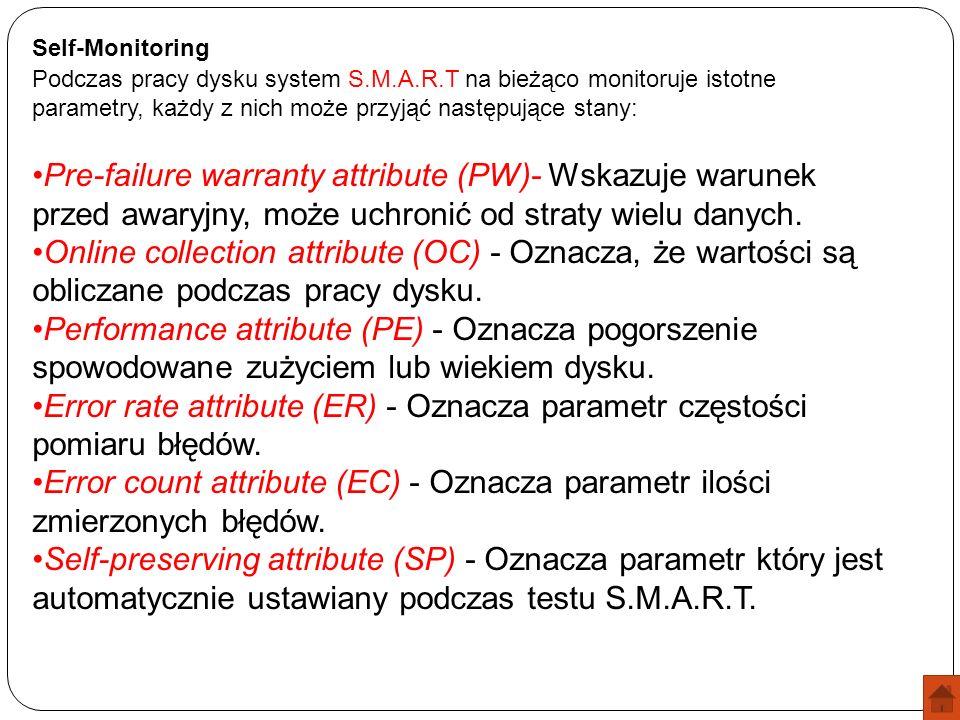 Error rate attribute (ER) - Oznacza parametr częstości pomiaru błędów.