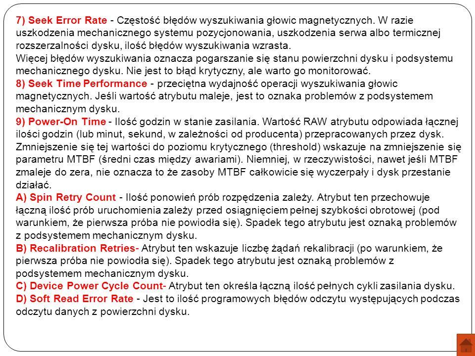 7) Seek Error Rate - Częstość błędów wyszukiwania głowic magnetycznych