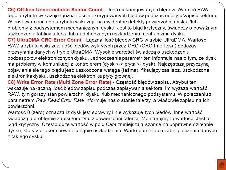 C6) Off-line Uncorrectable Sector Count - Ilość niekorygowanych błędów