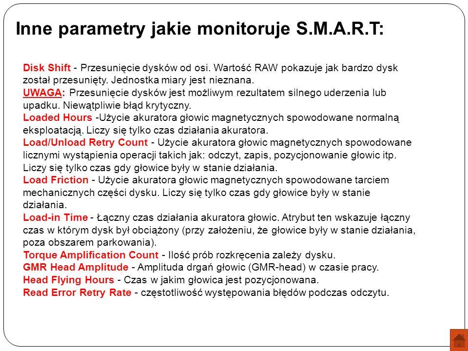 Inne parametry jakie monitoruje S.M.A.R.T: