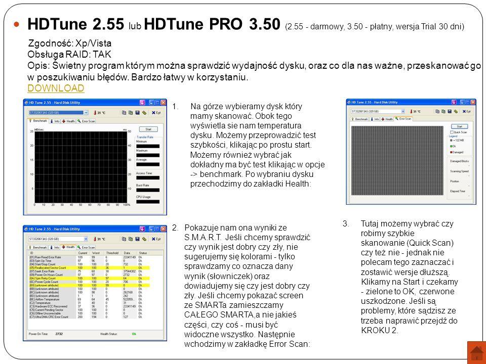 HDTune 2. 55 lub HDTune PRO 3. 50 (2. 55 - darmowy, 3