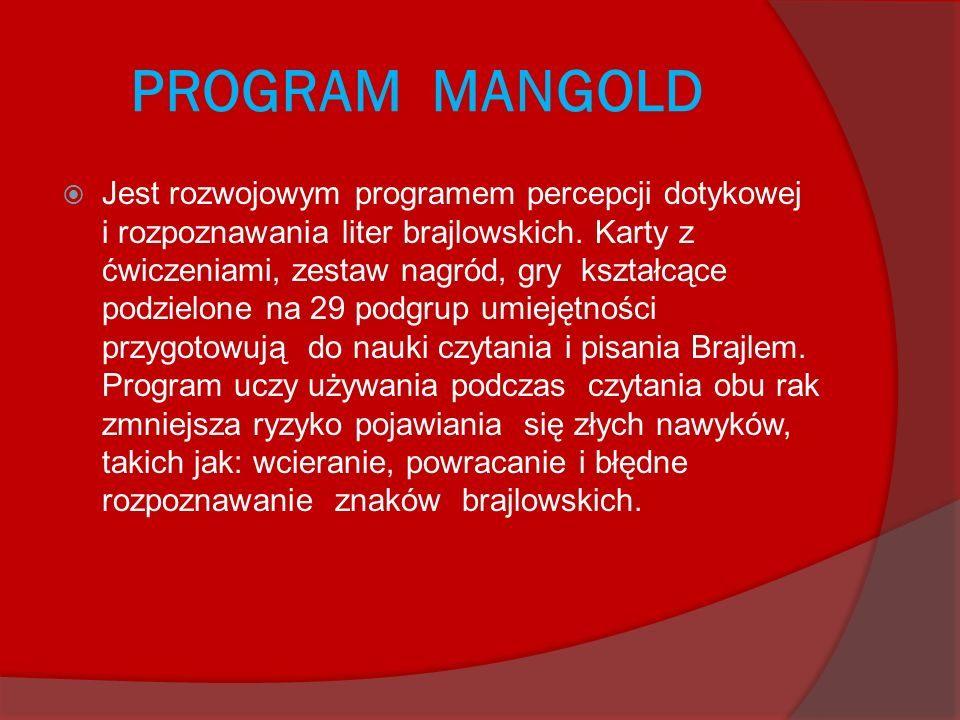 PROGRAM MANGOLD