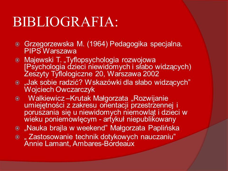 BIBLIOGRAFIA: Grzegorzewska M. (1964) Pedagogika specjalna. PIPS Warszawa.
