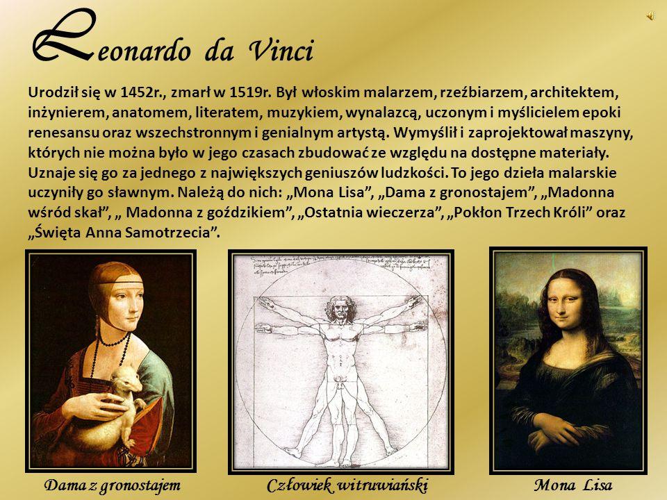 Leonardo da Vinci Dama z gronostajem Mona Lisa