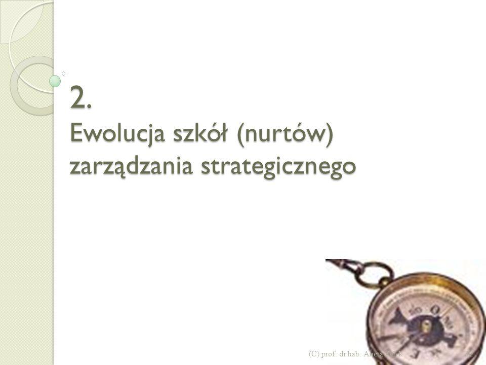 2. Ewolucja szkół (nurtów) zarządzania strategicznego