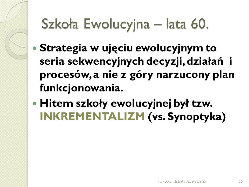 Szkoła Ewolucyjna – lata 60.