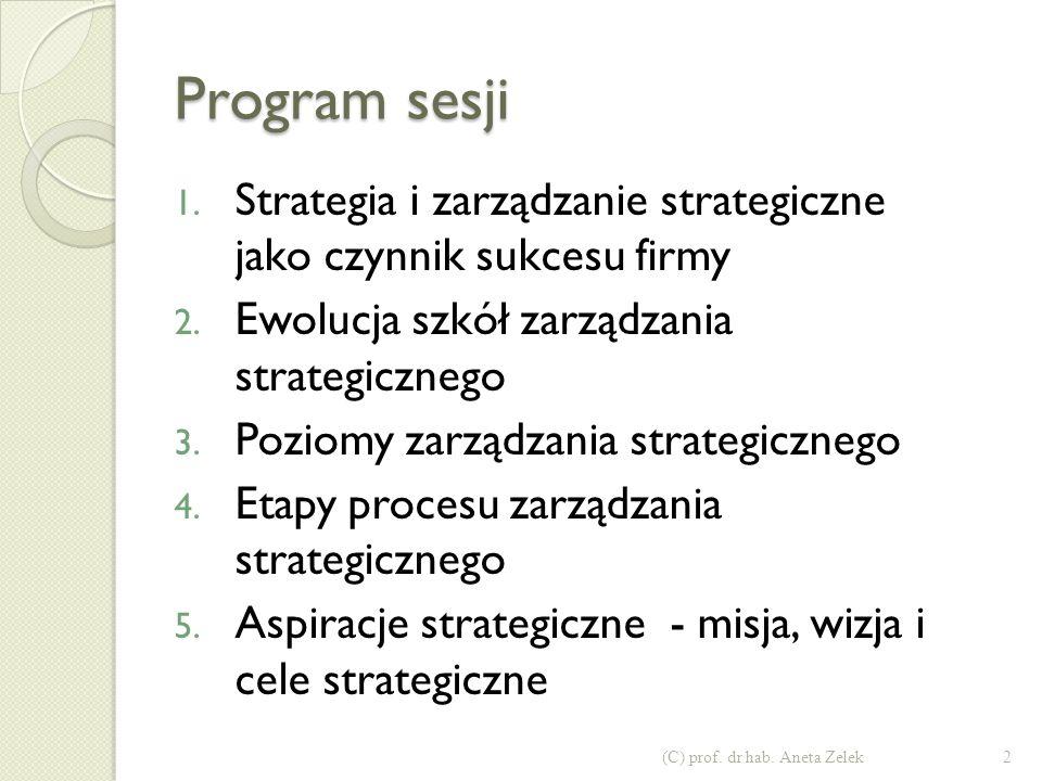 Program sesji Strategia i zarządzanie strategiczne jako czynnik sukcesu firmy. Ewolucja szkół zarządzania strategicznego.