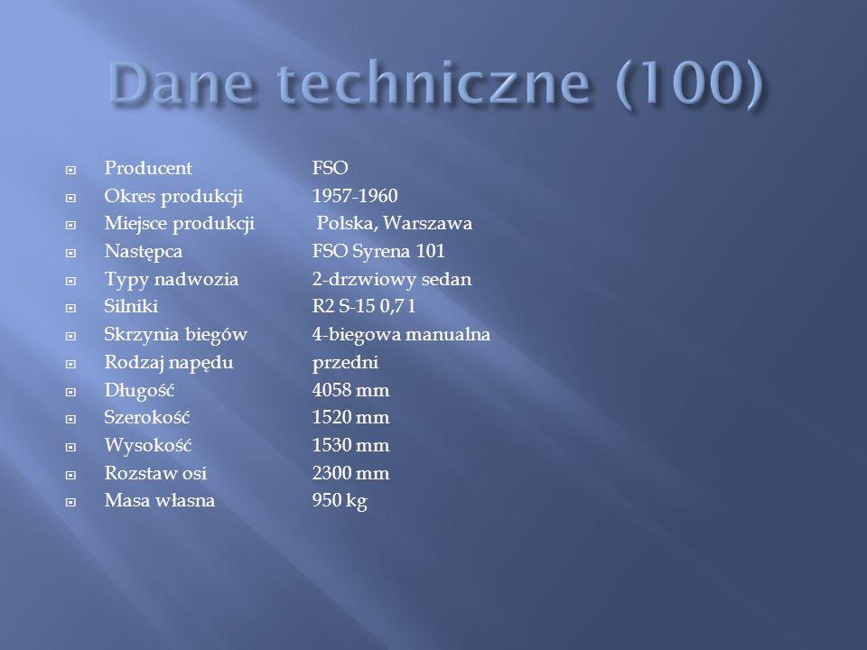 Dane techniczne (100) Producent FSO Okres produkcji 1957-1960