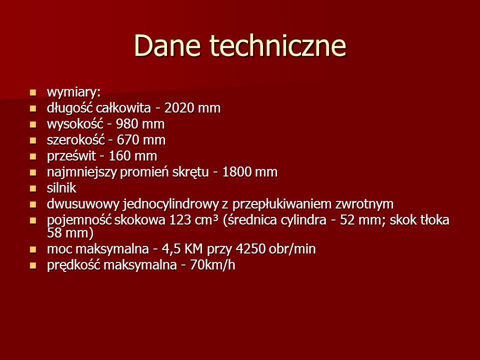 Dane techniczne wymiary: długość całkowita - 2020 mm wysokość - 980 mm