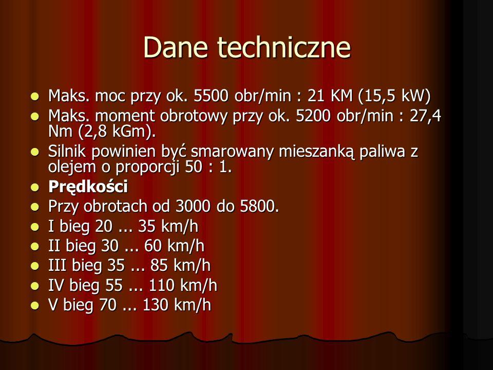 Dane techniczne Maks. moc przy ok. 5500 obr/min : 21 KM (15,5 kW)