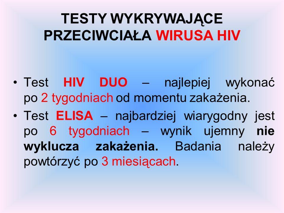 TESTY WYKRYWAJĄCE PRZECIWCIAŁA WIRUSA HIV