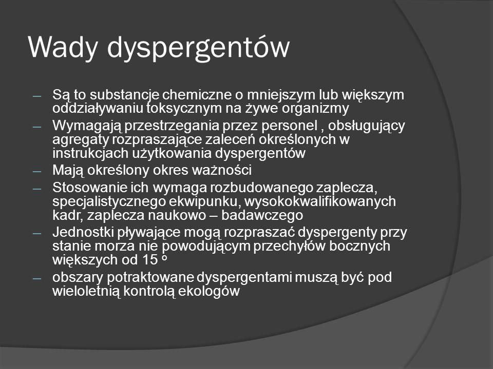 Wady dyspergentów Są to substancje chemiczne o mniejszym lub większym oddziaływaniu toksycznym na żywe organizmy.