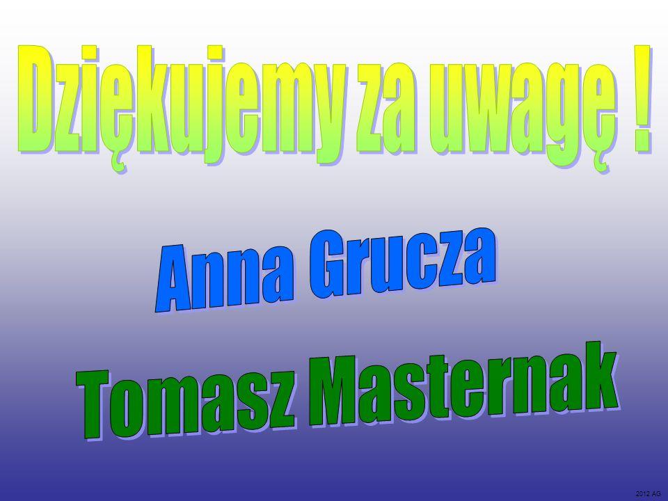 Dziękujemy za uwagę ! Anna Grucza Tomasz Masternak 2012 AG