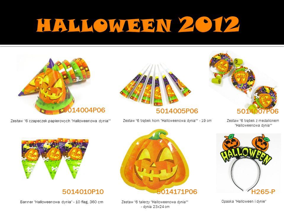 HALLOWEEN 2012 5014004P06. 5014005P06. 5014007P06. Zestaw 6 czapeczek papierowych Halloweenowa dynia