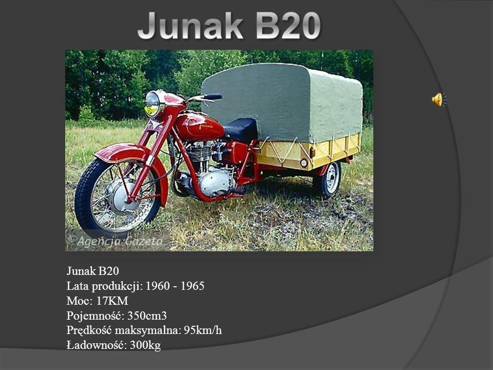 Junak B20 Junak B20 Lata produkcji: 1960 - 1965 Moc: 17KM Pojemność: 350cm3 Prędkość maksymalna: 95km/h Ładowność: 300kg.