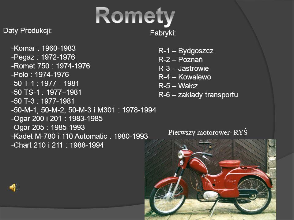 Romety Daty Produkcji: Fabryki: -Komar : 1960-1983 R-1 – Bydgoszcz