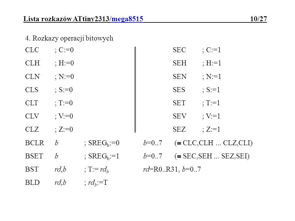 Lista rozkazów ATtiny2313/mega8515 10/27