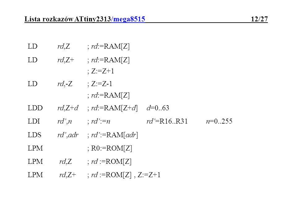 Lista rozkazów ATtiny2313/mega8515 12/27