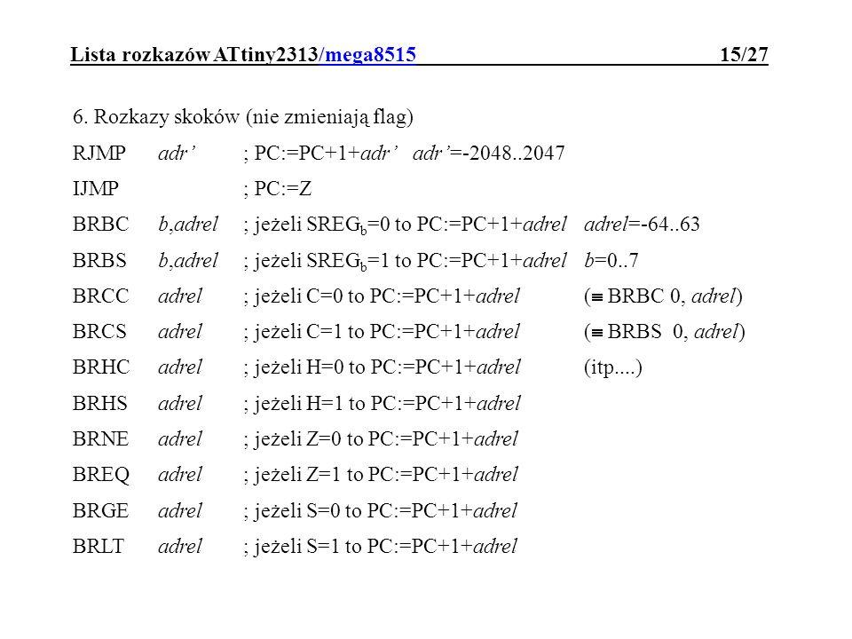 Lista rozkazów ATtiny2313/mega8515 15/27