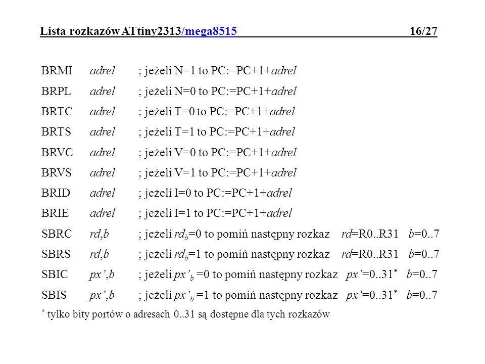 Lista rozkazów ATtiny2313/mega8515 16/27