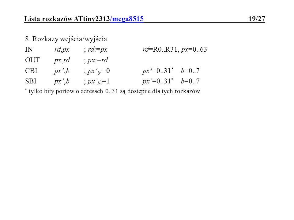 Lista rozkazów ATtiny2313/mega8515 19/27
