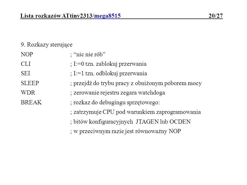 Lista rozkazów ATtiny2313/mega8515 20/27