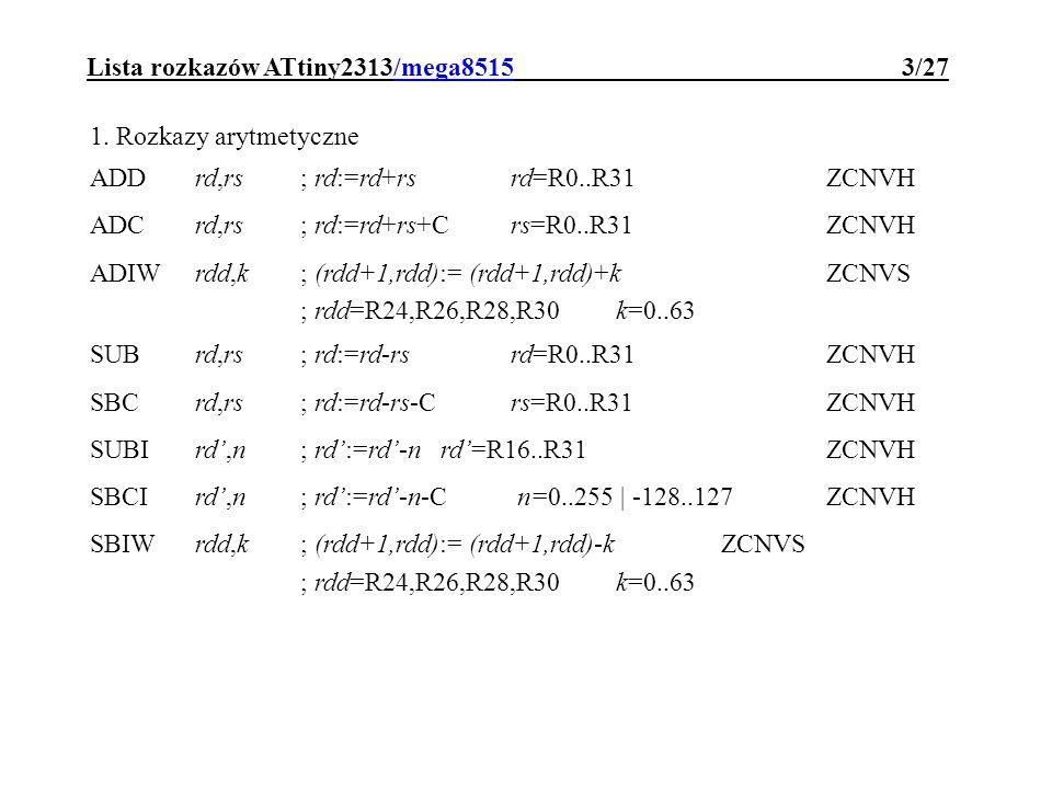 Lista rozkazów ATtiny2313/mega8515 3/27