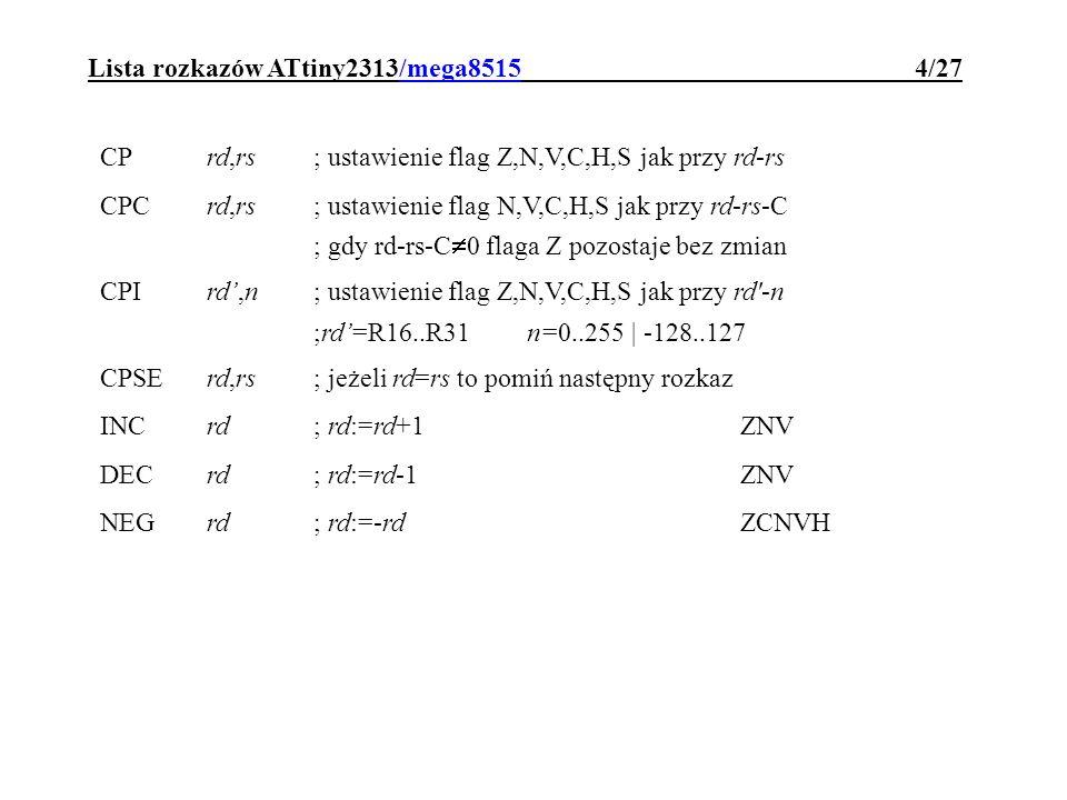 Lista rozkazów ATtiny2313/mega8515 4/27