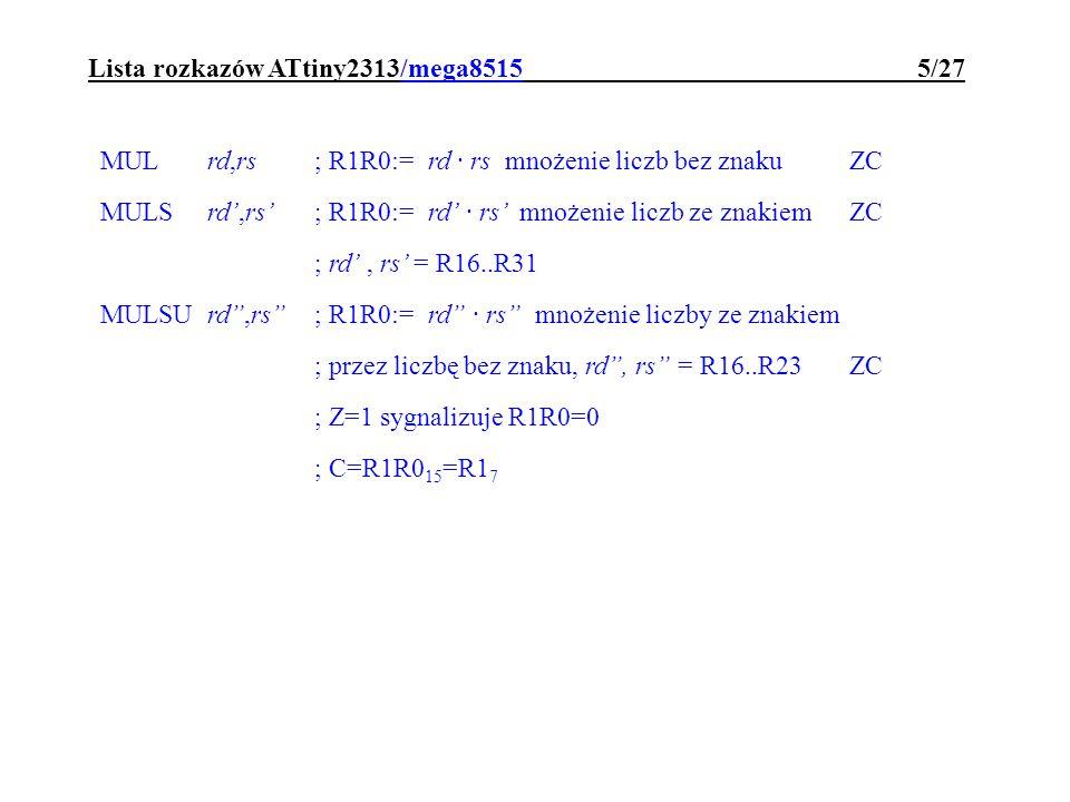 Lista rozkazów ATtiny2313/mega8515 5/27
